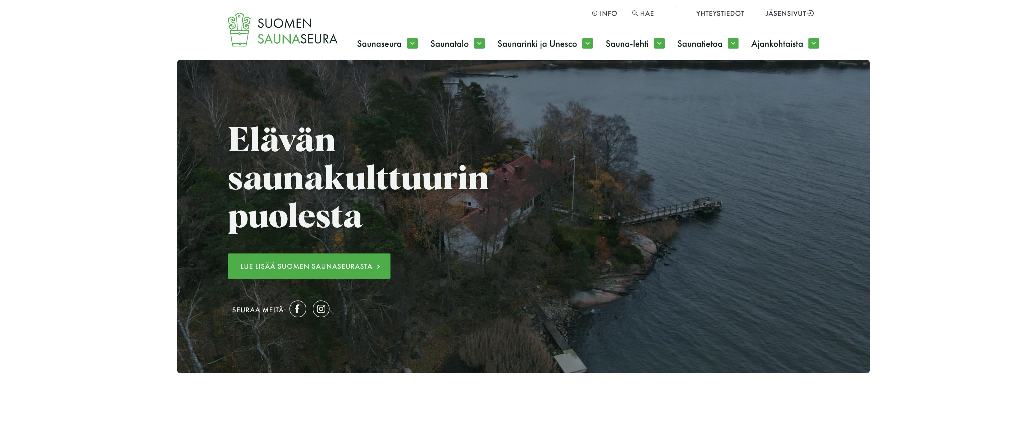 Saunaseura uusi verkkosivunsa.